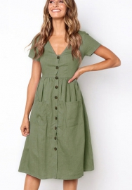 Women's Dresses-Short Sleeve V Neck Button T Shirt Midi Skater Dress with Pockets