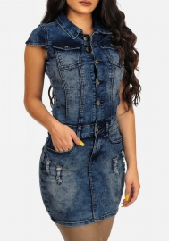 Womens Sexy Denim  Botton Sleeveless Bodycon Party Clubwear Mini Dress