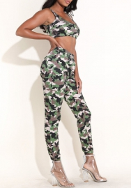 Womens Sleeveless Bodycon Camo Print Halter Crop Top Long Pants Set 2 Piece Outfit Jumpsuits