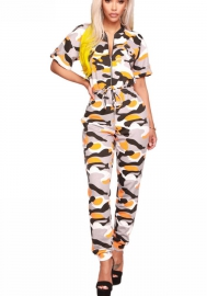 Women's Camouflage Print Long Sleeve Bodycon Jumpsuits