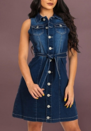 Wommen's Sexy Sleeveless Slim Front Button Denim Bodycon Party Dress