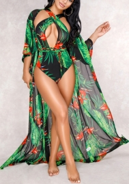 Women Sexy 2 Piece Swimsuits Floral Printed Bikini Set with Summer Beach Poncho Cover up Dress