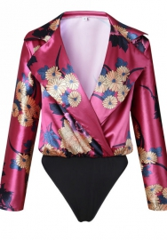 Women Sexy Deep V Neck Floral Print Bodysuit Shirt Cross Bow Tie Elastic Waist Blouse Playsuit