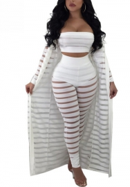 Women Casual Tube Crop Top Bodycon Long Pants and Cardigan Coat 3 Piece Outfits Set