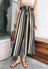 Women's Casual Striped High Waisted Wide Leg Long Palazzo Pants with Belt