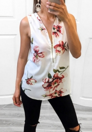 Women's Short Sleeve Tops Floral Sexy Spaghetti Strap Front Zipper Cami Blouses
