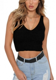 Women's Sleeveless V-neck Caddice Crop Top Shirt