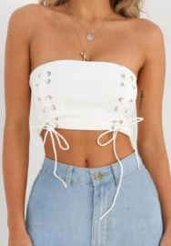 Women Lace up Front Medium Length Tube Top