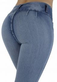 Women's Plus Size Vintage Stretchy High Waisted Skinny Little-Flared Jeans