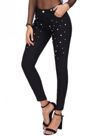 Women's Classic High Waist Slimming Fit Stretch Pearl Jeggings Skinny Jeans