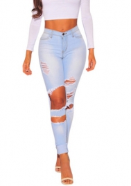 Women's Mid Waist Destroyed Ripped Hole Stretch Denim Skinny Jeans Distressed Trousers