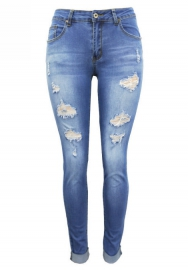 Women Casual Denim Destroyed Stretchy Ripped Skinny Jeans