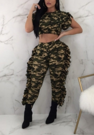 Women's 2 Pieces Outfits Ruffle Short Crop Top + Long Pants Sweatsuits Set Tracksuits