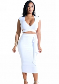 Women's  Deep Round Neck Sleeveless Bandage Bodycon Midi Dress