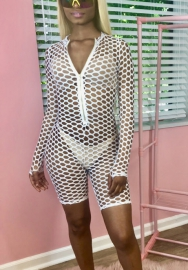 Womens Mesh Jumpsuit See Through Fish Net Zipper Front Hollow Out Rompers Beach Cover up