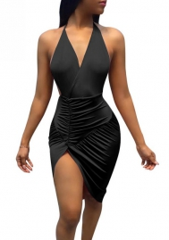 Womens Sexy Backless Halter Deep V-Neck Slit Party Club Dress