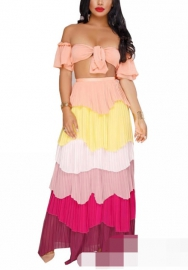 Womens Sexy 2 Piece Outfit Crop Tube Top Layer Ruffle Maxi Dress