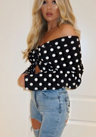 Women Blouse!Sexy Women V-Neck Dot Crop Tops Casual Long Sleeve Transparent Shirt