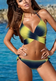 Womens Swimsuits 2 Piece Halter Criss Cross Front Pineapple Print Triangle Bottom Bikini