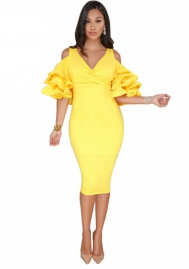 Women Sexy V Neck Cold Shoulder Ruffle Sleeve Slim Fit Bodycon Cocktail Party Midi Dress