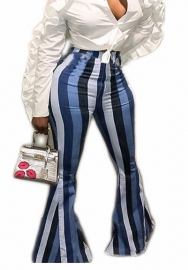 Women Colorful Rainbow Striped Hippie Wide Leg Flared Bell Bottom Long Pants