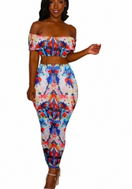 Women Sexy 2-Piece Wrapped Summer Colorful Dyeing Bodycon Skirt Dress
