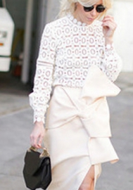 Women Line Crochet Lace Mesh Hollow Out Loose Sen Long Sleeved Knitted Pullover Blouses