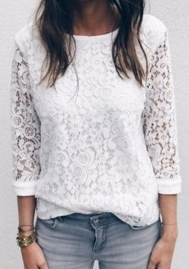 Women Casual Floral Lace Shirt Round Neck 3/4 Sleeve Blouse Tops