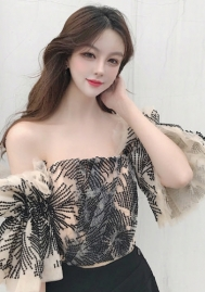 Women's Sexy Off Shoulder Lace Hollow Out Summer Crop Top Blouse Shirt