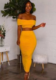Womens Sexy Off Shoulder Bandeau Long Sleeve Backless Crop Top Bodycon Midi Skirt 2 Pieces Dress