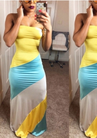 Women's Tube Contrast Color Patched Sleeveless Maxi Dress