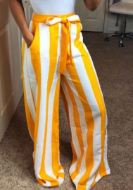 Women's Striped High Waisted Lounge Wide Leg Palazzo Pants Capris