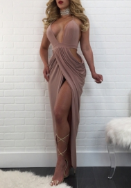Womens Sexy Deep V Strap Backless Sequins Bodycon Party Club High Split Dress