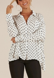 Women Botton Down V Neck Long Sleeve Polka Dots Print Blouse Tops Shirt Tee