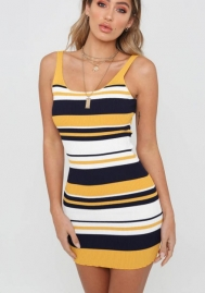 Women's Striped Sleeveless Casual Dress Party Mini Dress