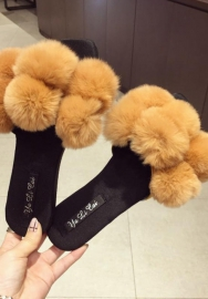 Womens Sassy Chic Summer Single Strap Open Toe Fluffy Flat EVA Fashion Sandals