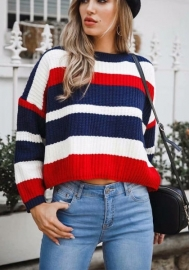 Women Casual Mohair Drop Sleeve Striped Loose Fit Oversized Sweaters