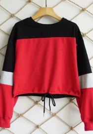 Women's Stripe Contrast Color Long Sleeve V Neck Pullover Loose Sweater