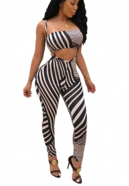 Womens Sexy Two Piece Outfits Strappy Striped Tube Top High Waist Jumpsuits Rompers