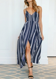 Womens Striped Spaghetti Straps V Neck Loose Beach Maxi Dress