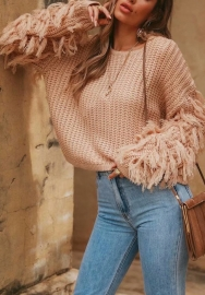omen's Crew Neck Long Sleeve Knit Pullover Tassel Winter Causal Sweater
