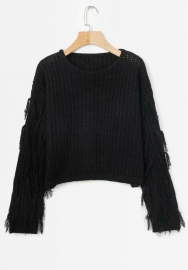 Women's Crew Neck Long Sleeve Knit Pullover Tassel Winter Causal Sweater