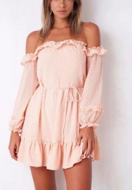 Women Casual Off Shoulder Ruffle Sleeve Lace Hollow A Line Party Mini Dress