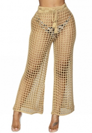 Women Grid Beach Conjoined Trousers Long Pants