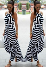 Women's Sleeveless Stripes Casual Maxi Dress Irregular Pendulum Long Dress Beach Dress