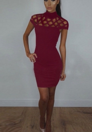 Womens Sexy Halter Hollow Out Bodycon Bandage Club Dress