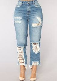 Women's Destroyed Ripped Hole Washed Pencil Jeans