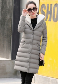 Women's Long Down Coat with Faux Fur Hood Winter Coat Down Jackets