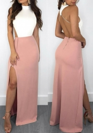 Women Halter Round-neck Random Open Back Splited Hem Maxi Dress