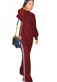 Women Round Neck Sweatshirt and Skinny Pant Set Velvet Tracksuit